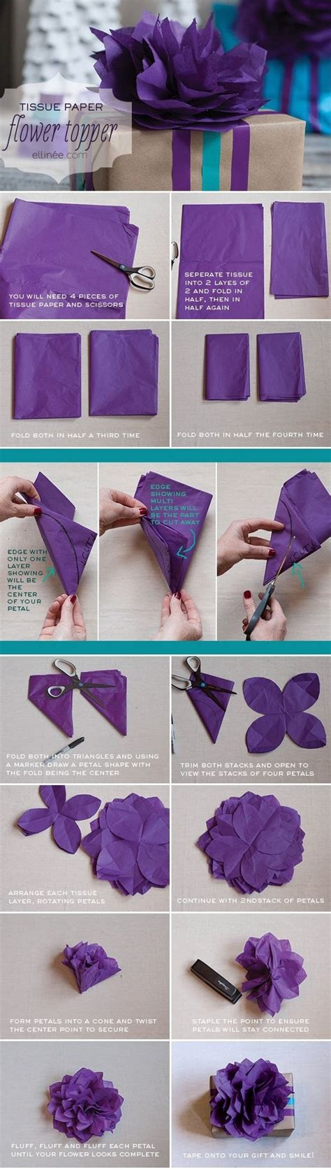 tissue paper flower garland tutorial diy tissue paper flower gift wrap topper tutorial diy