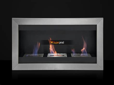 gas fireplace insert ventless 43 quot wall mount stainless steel insert ethanol 3 burner