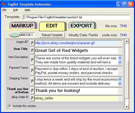 tagbot pc template software from isdn tek