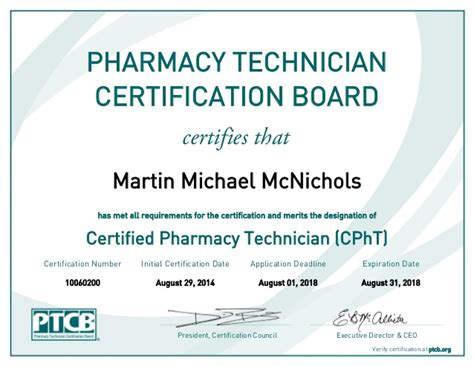 Pharmacy Board Certification by Certified Pharmacy Technician