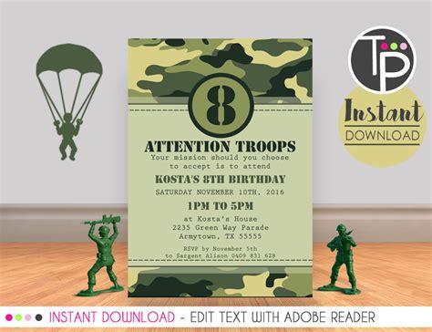 army invitation combat invitation army printable print