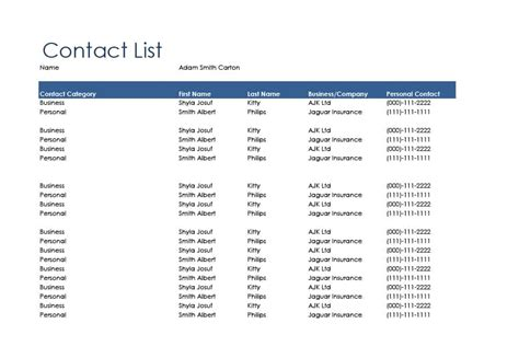 40 Phone Email Contact List Templates Word Excel ᐅ Template Lab Contact List Template