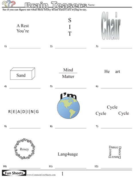 Brain Teaser Answers Worksheets by Worksheets
