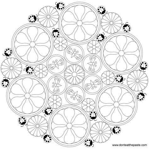 coloring pages intricate flowers don t eat the paste less intricate flower mandala to color
