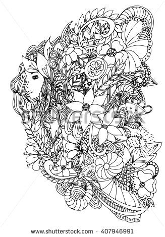 coloring pages for adult in zenart style antistress coloring page vector illustration zentangl girl portrait woman stock