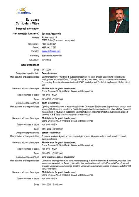 Format De Cv by Europass Curriculum Vitae Europass Cv Format Doc Cover