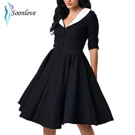 Sale Dress Vintage Hitam Putih Salur kerut gaya unik vintage 1950 s hitam putih ayunan lengan dress vestidos mujer l36125