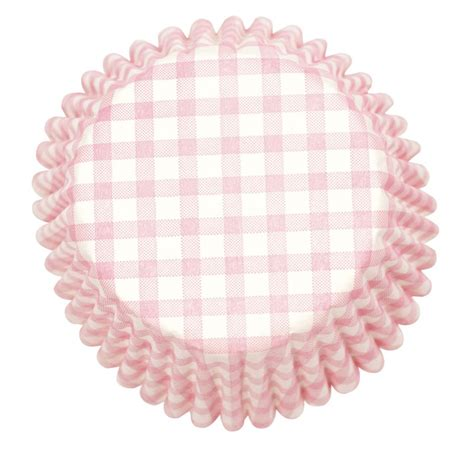 Silicone Baking Ribbon Large pink gingham printed baking cases culpitt