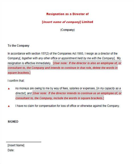 Resignation Letter For Director by 33 Resignation Letters Sles Templates In Pdf
