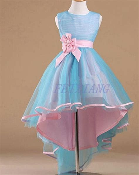 Pink Blue Dress children dress for wedding blue pink flower