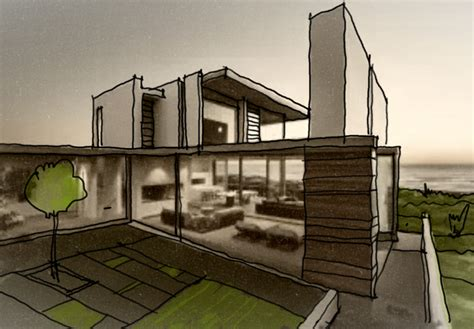 modern house design sketch arch student