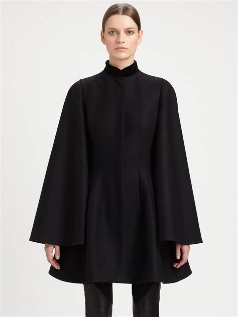 Cape Blazer Jacket Jaket lyst mcqueen velvet collar cape jacket in black