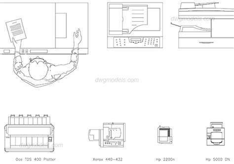 Industrial Interiors photocopier dwg free cad blocks download