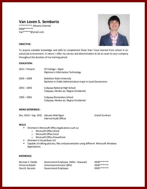 resume sle for students with no work experience sle resume for college student with no experience