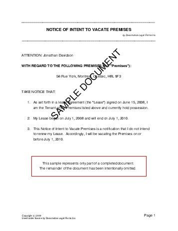 Letter Of Intent Canada notice of intent to vacate premises canada