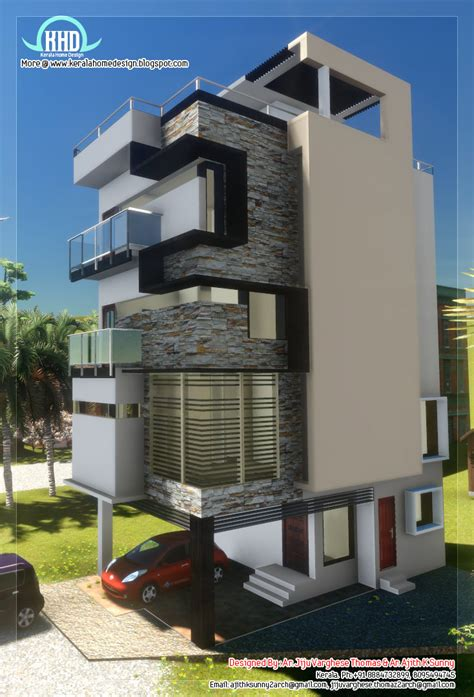 3 floor contemporary narrow home design kerala house