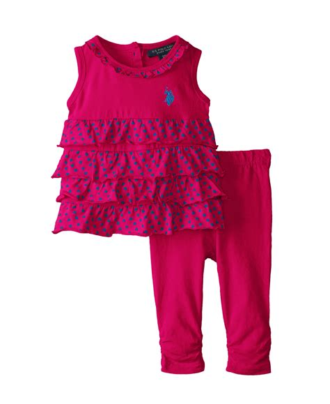 u s polo assn baby 3 pc set ruffled top with ruched baby baby clothes