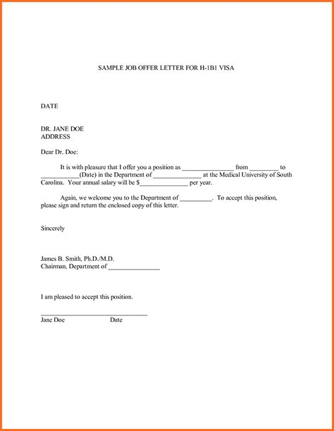 appointment letter of employment offer letter sle soap format