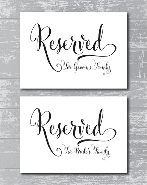 printable reserved signs instant download swash reserved for family signs 5x7