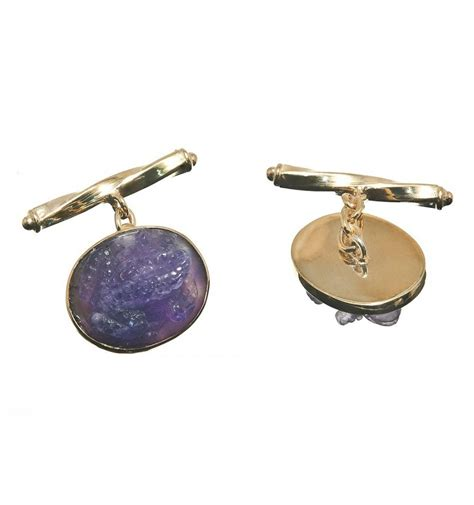Wa Set Kalung Anting Gold Metal Chain amethyst frog chain shank cufflinks gold plated sterling