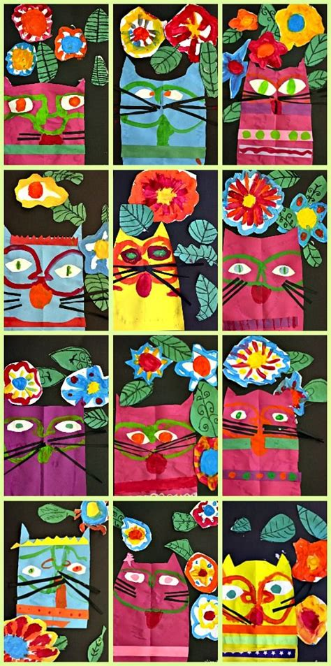 pattern cat art lesson laurel burch cat art project laurel burch cat and deep