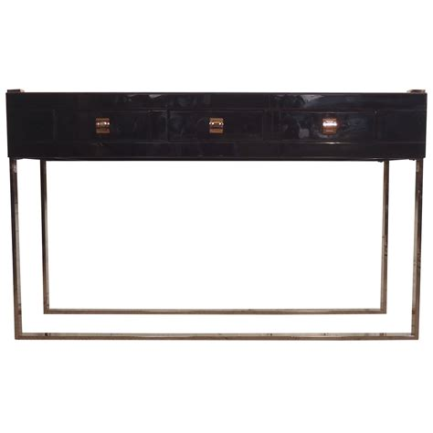Black Glass Tables Gorgeous Black Glass Console Table At 1stdibs