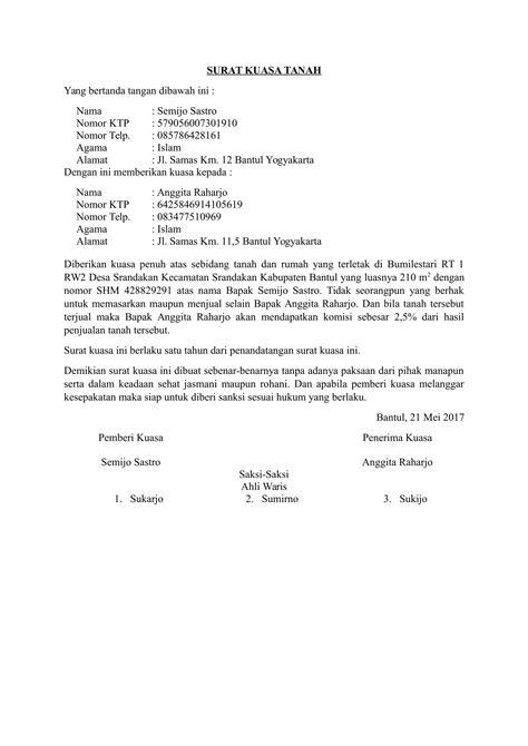 download contoh surat kuasa tanah terbaru