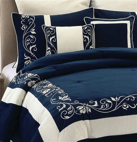 8pc navy blue mateo embroidery silk comforter