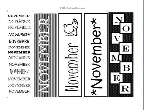 free printable november bookmarks 8 best images about printable bookmarks days months