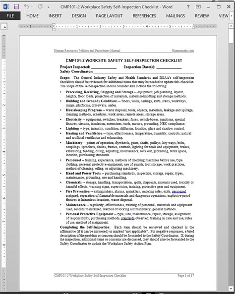 workplace safety self inspection checklist template