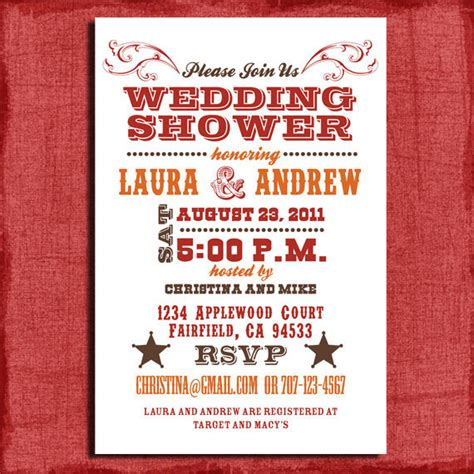 printable western wedding invitations free printable western couples wedding shower 4x6 invitation