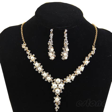 rhinestone for jewelry new fashion rhinestone pearl necklace and earring for