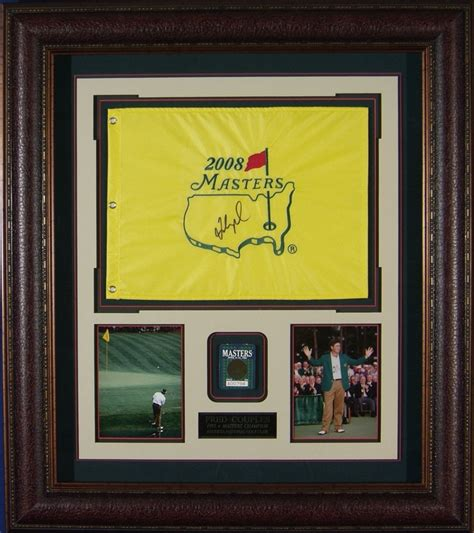 fred couples signed masters flag framed   badge
