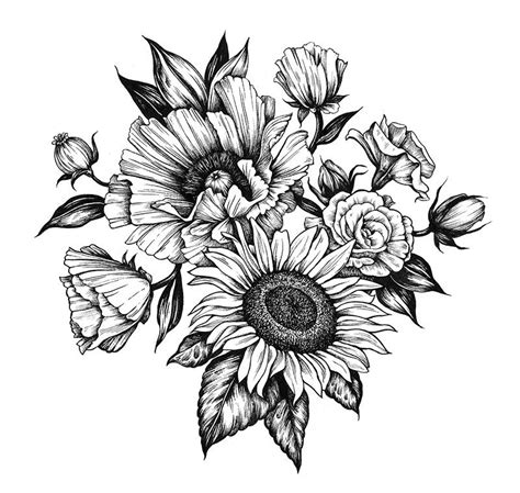 sunflower outline tattoo poppy and sunflower commissioned 2015 ideas