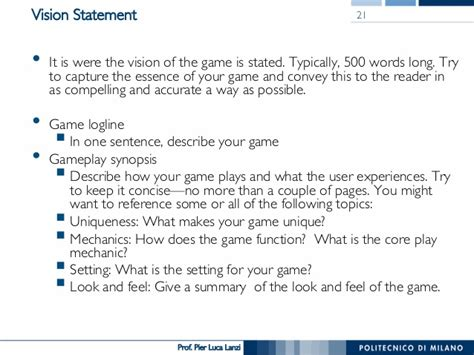 game design vision statement videogame design and programming 08 the design document