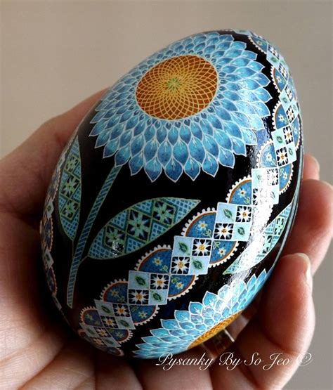 blue sunflowers ukrainian easter egg pysanky by so jeo