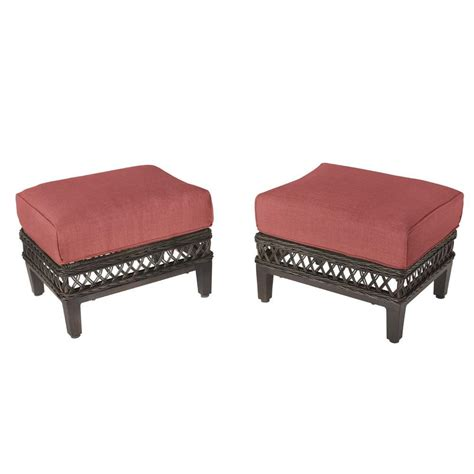 Patio Chairs With Ottomans Hton Bay Woodbury Patio Ottoman With Chili Cushion 2 Pack Dy9127 O R The Home Depot