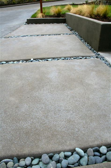 Acid Etched Concrete Patio after sparkling concrete with mexican black pebbles contemporary portland by visionscapes