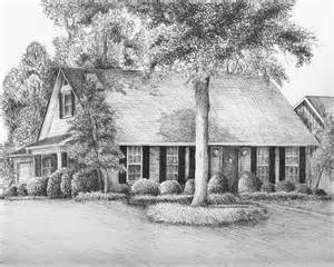 house drawing pen and ink house drawing