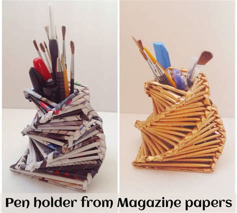 How To Make Paper Pen Stand - make a gorgeous pen holder from magazine papers 8 steps
