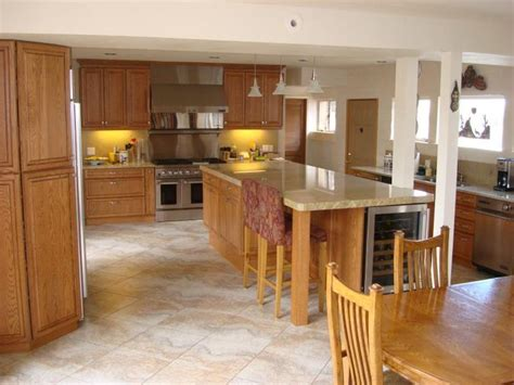kitchen flooring ideas with oak cabinets tiled floors with light oak cabinets solid oak cabinets