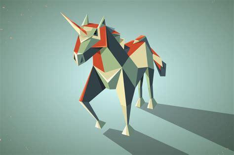 Three Dimensional Origami - unicorn logos 187 designtube creative design content