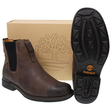 mens timberland 73170 mt city brown slip on leather ankle