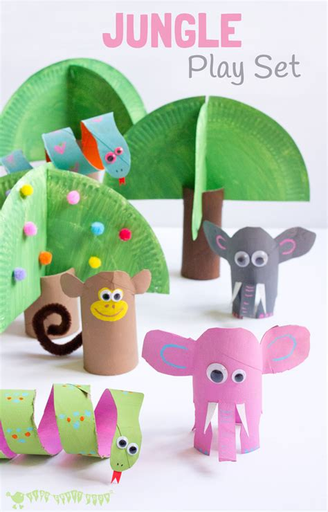 Childrens Paper Crafts - jungle playset from toilet paper roll crafts