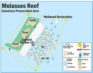 map of buoys in molasses reef sanctuary preservation area