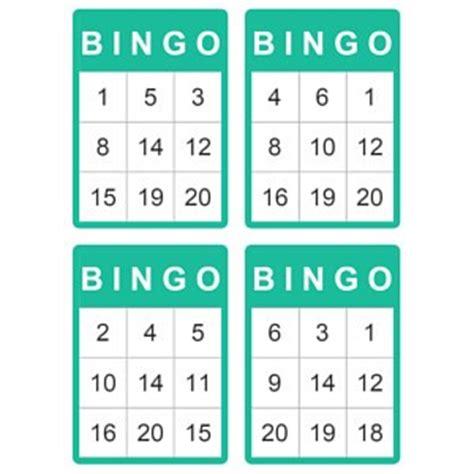 4 1 4 X 5 1 2 Card Template by Bingokaarten Tot 20