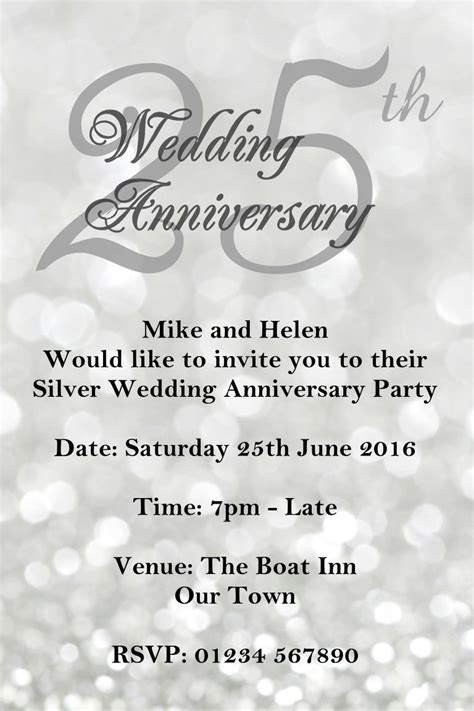 25th Wedding Anniversary Card And In by Anniversary Invitations 25th Silver Wedding Anniversary