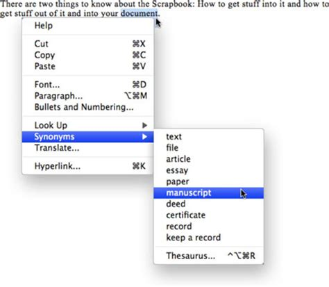 Office Synonym by How To Use The Word 2008 For Mac Thesaurus Dummies