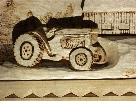 Barn Find Wood Carvings Hand Carved Deep Relief Of Tractor And Farm