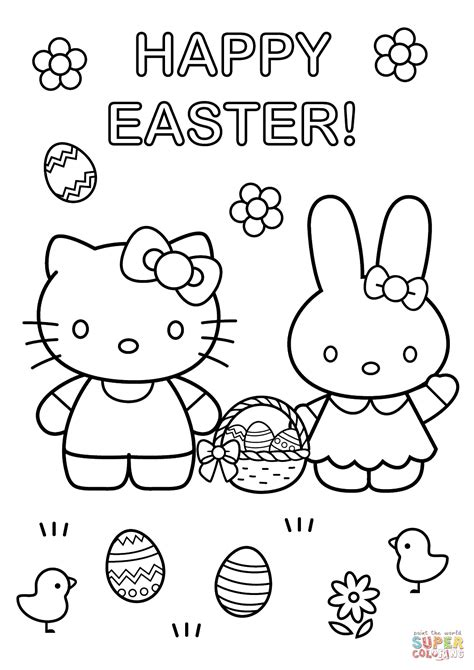 kitty  easter bunny coloring page